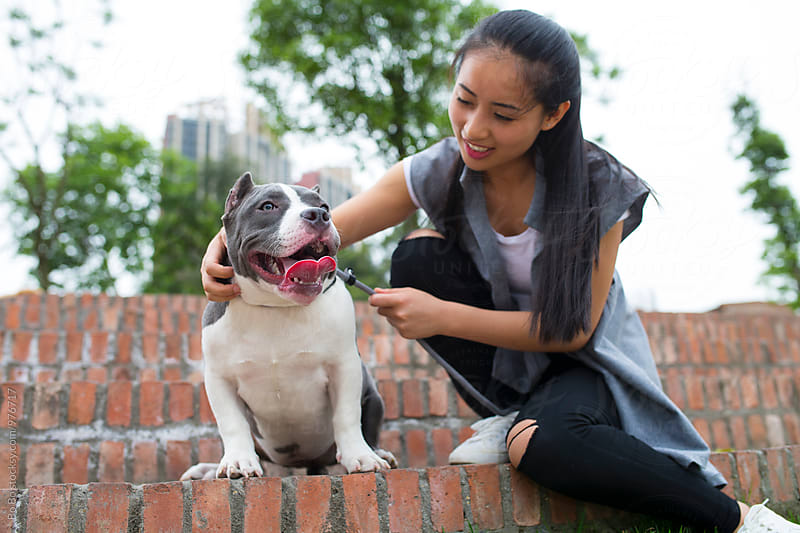 young asian woman with her dog outdoor by Bo Bo for Stocksy United