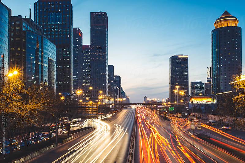 Beijing CBD at sunset by zheng long for Stocksy United