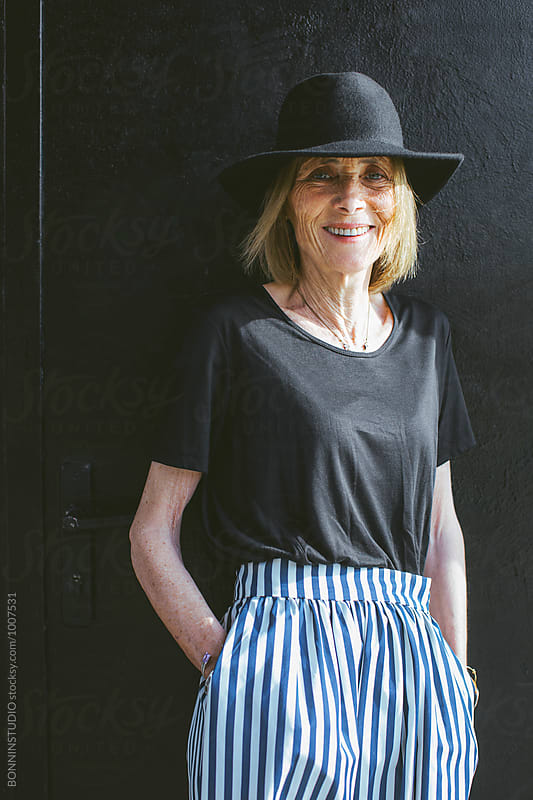 Portrait of a happy stylish senior woman.  by BONNINSTUDIO for Stocksy United