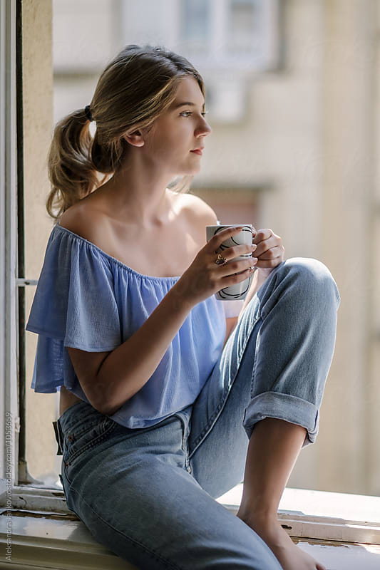 Woman Drinking Morning Coffee by Aleksandra Jankovic for Stocksy United