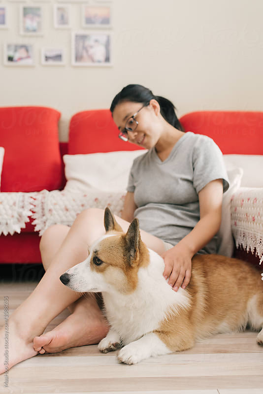 Pregnant woman and her dog at home by Maa Hoo for Stocksy United