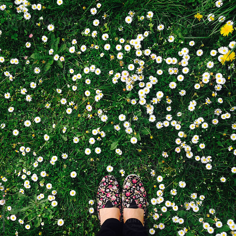 Flowers and flower pattern shoes by Sophia Hsin for Stocksy United