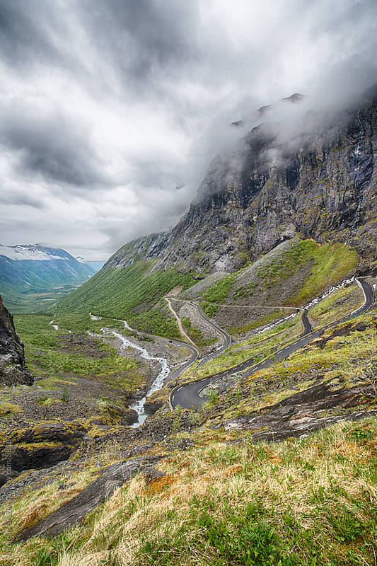 Trollstigen, the famous road in Geiranger, Norway by Andreas Gradin for Stocksy United