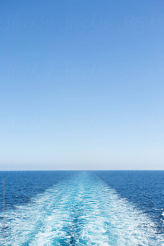 Water wake of a ferry boat in the sea by CACTUS Blai Baules for Stocksy United