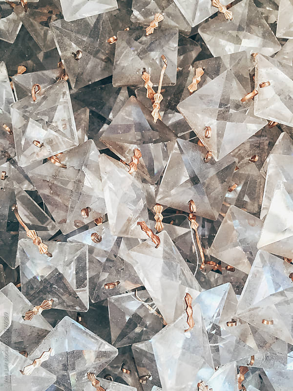 Close up of crystal chandelier  by Vera Lair for Stocksy United