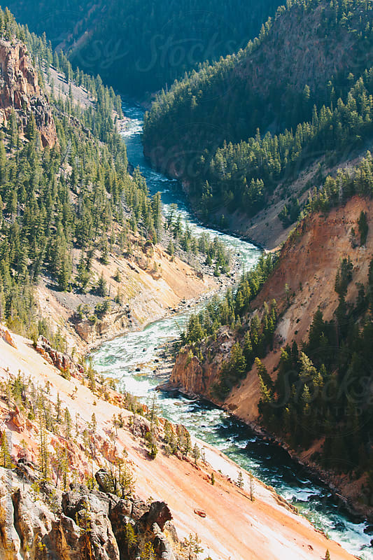 Yellowstone River Running Along Canyon Base by Luke Mattson for Stocksy United