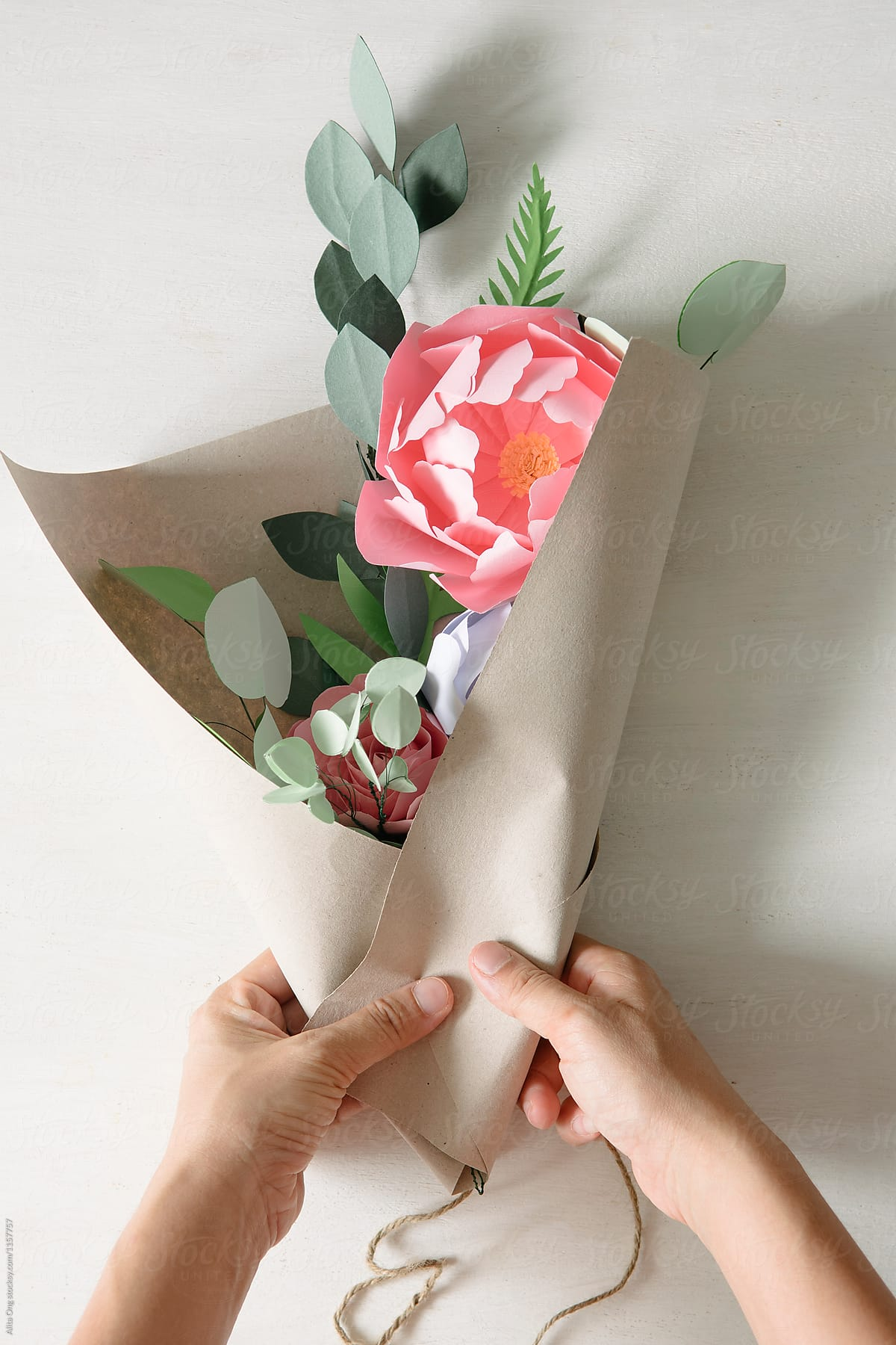 Wrapping Paper Flowers Bouquet Stocksy United