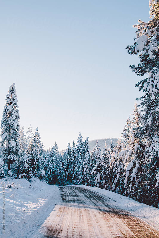 A winding mountain road on a brilliant winter morning by Justin Mullet for Stocksy United