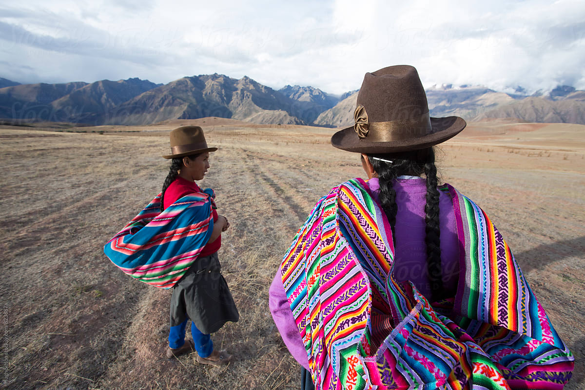 Peruvian Women Wearing Traditional Costume Peru By Hugh Sitton Stocksy United