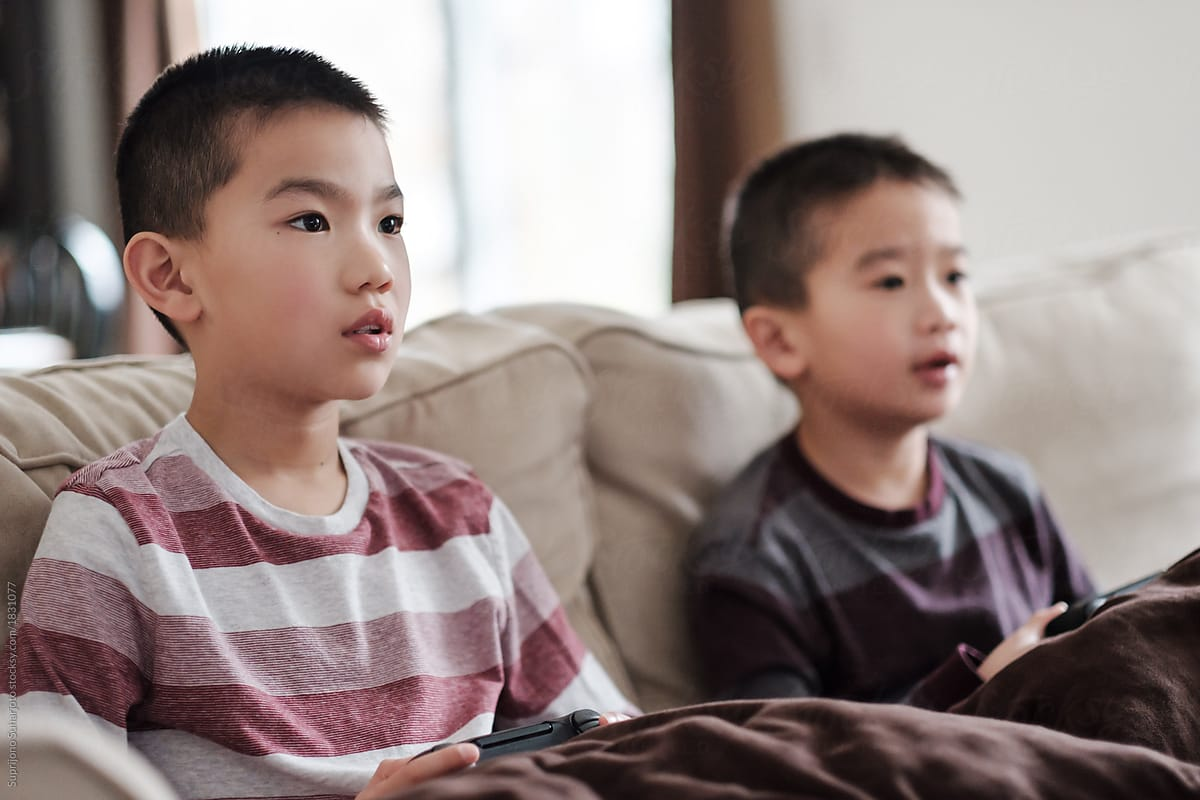 Two Asian Children Playing Video Games by Take A Pix Media - Playing, Video  game - Stocksy United
