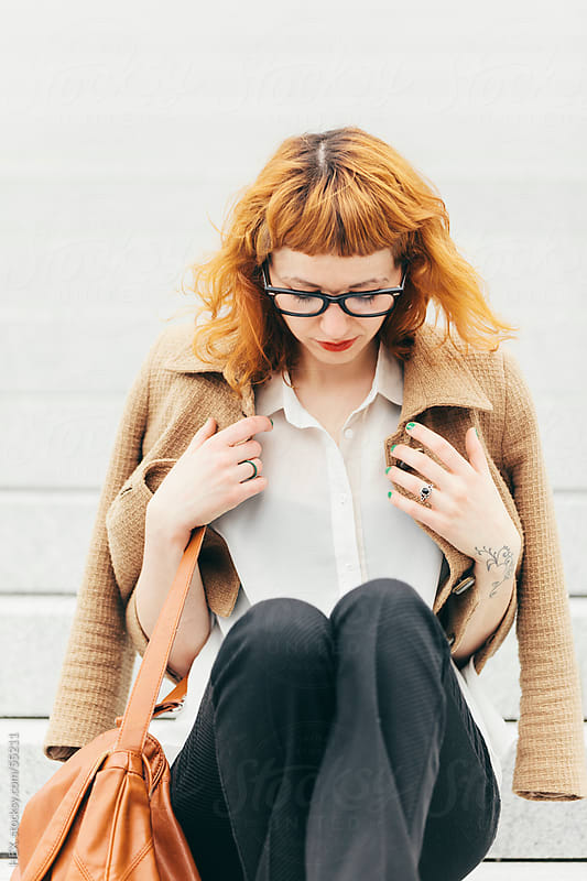 Fashionable Ginger Businesswoman With Glasses by HEX . for Stocksy United