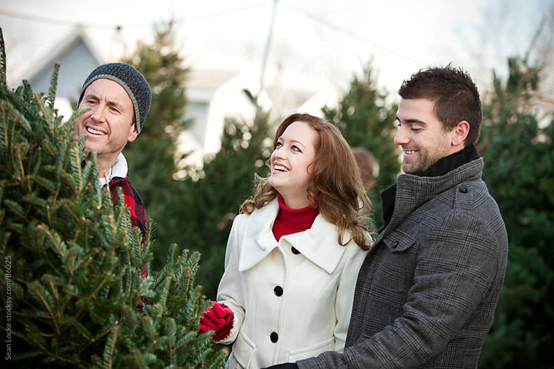 Tree Lot: Lot Employee Helping Couple with Tree by Sean Locke for Stocksy United