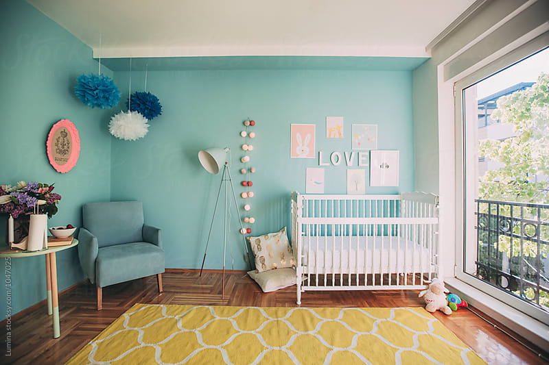 Turquoise Nursery With Crib by Lumina for Stocksy United