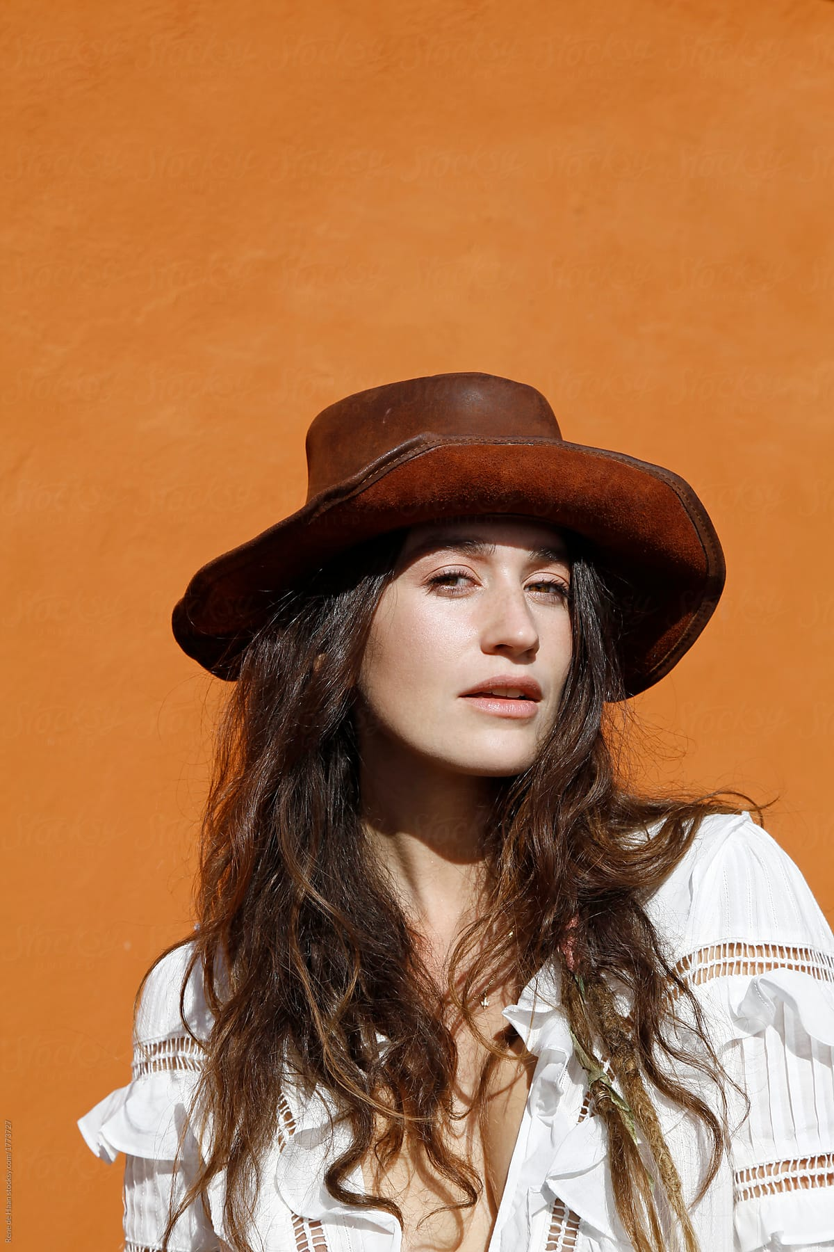 350f17b5 young woman with hat. portrait of a beautiful young brunette ...