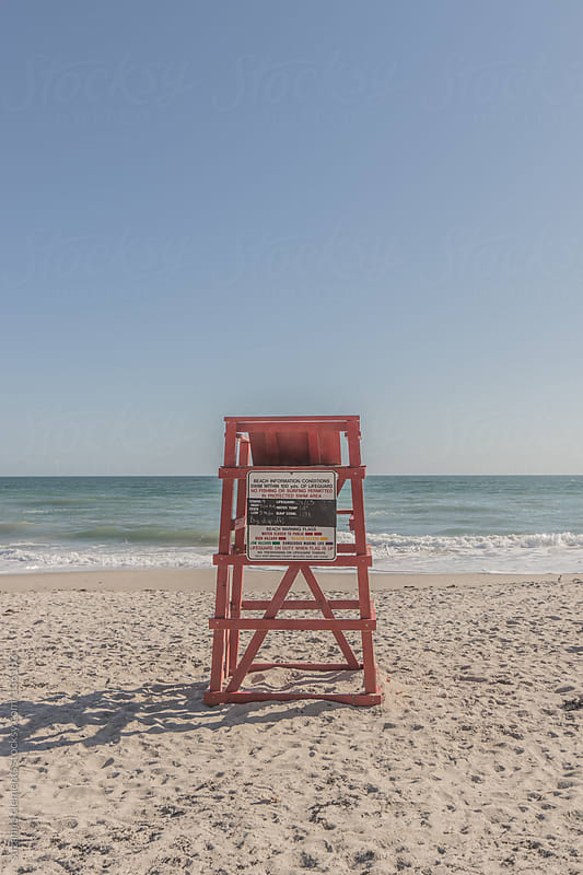 Lifeguard station at the empty beach by suzanne clements for Stocksy United