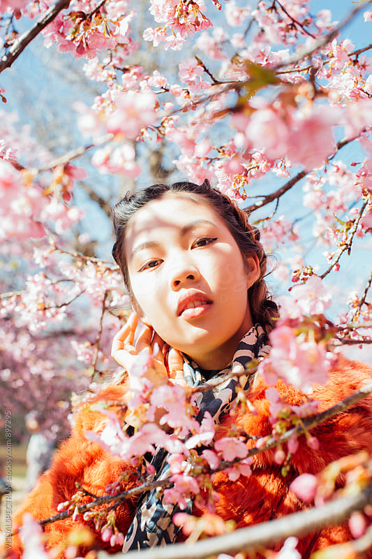 Blossoming Sakura Tree Throwing Shadows on Face of Pretty Young Japanese Woman by Julien L. Balmer for Stocksy United