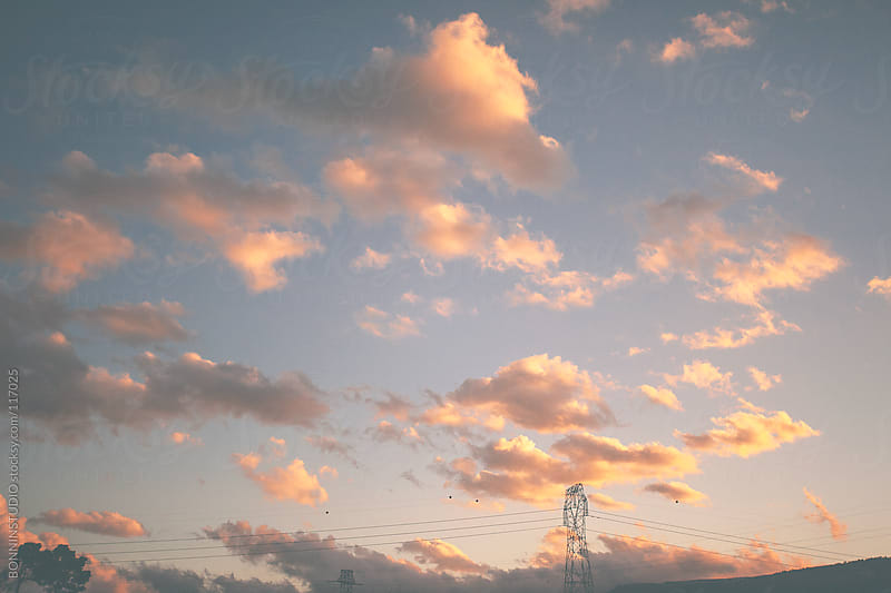 Sunset cloudy landscape.  by BONNINSTUDIO for Stocksy United
