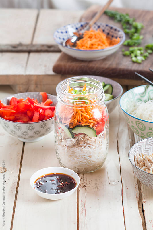 Vermicelli-Salad in Mason Jar by Susan Brooks-Dammann for Stocksy United