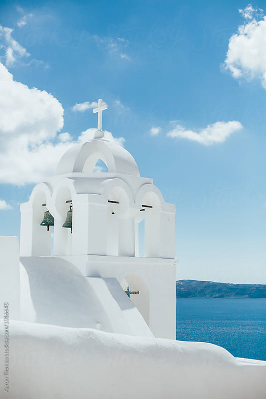 White Church in Santorini by Aaron Thomas for Stocksy United