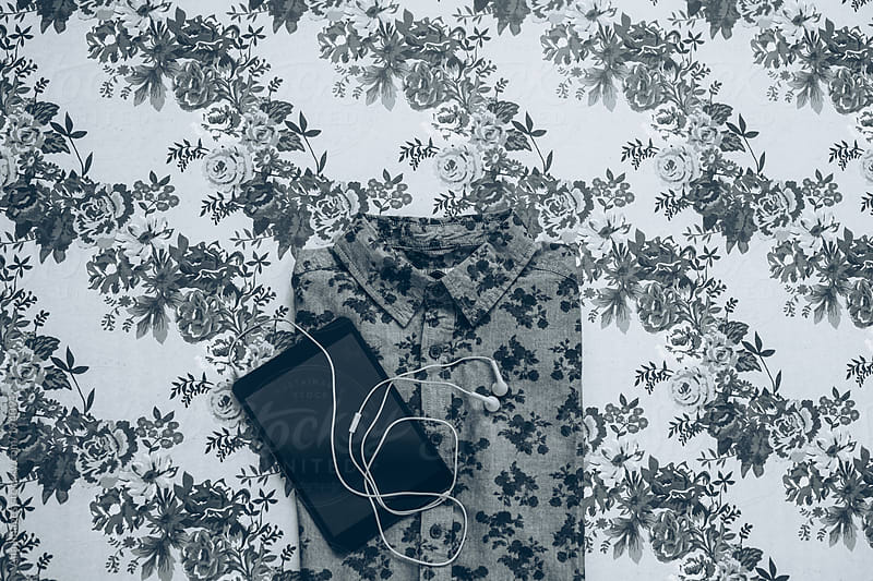 Floral Shirt with Digital Tablet by Aila Images for Stocksy United