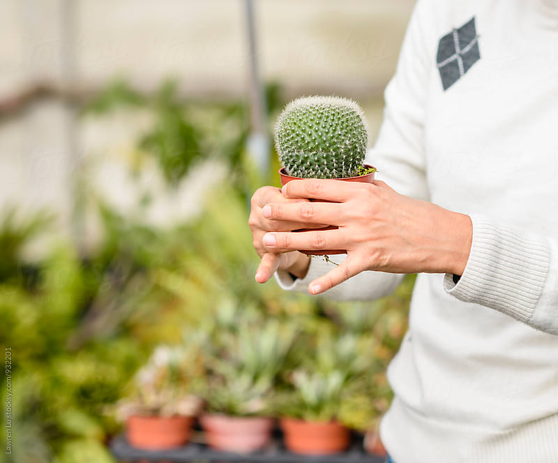 Woman holding  cactus by Lawren Lu for Stocksy United