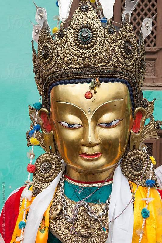 Close up of statue of Buddha by Shikhar Bhattarai for Stocksy United