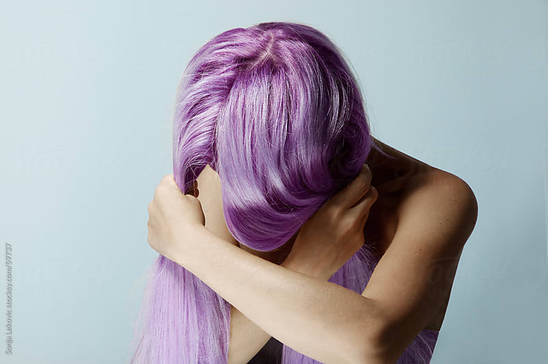 woman with purple hair by Sonja Lekovic for Stocksy United