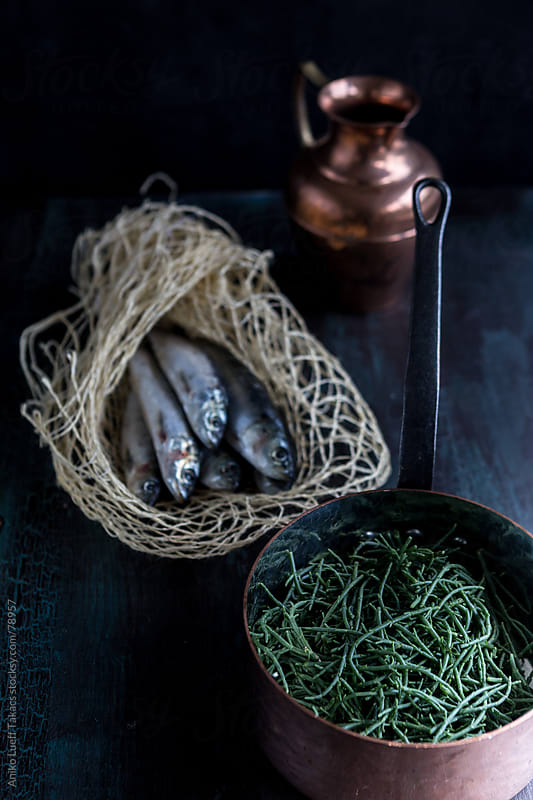 Samphire and  mackerel on the table by Aniko Lueff Takacs for Stocksy United
