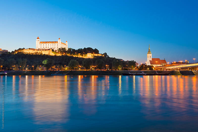 Bratislava, Slovakia - City Skyline and the River Danube at the Blue Hour by Tom Uhlenberg for Stocksy United