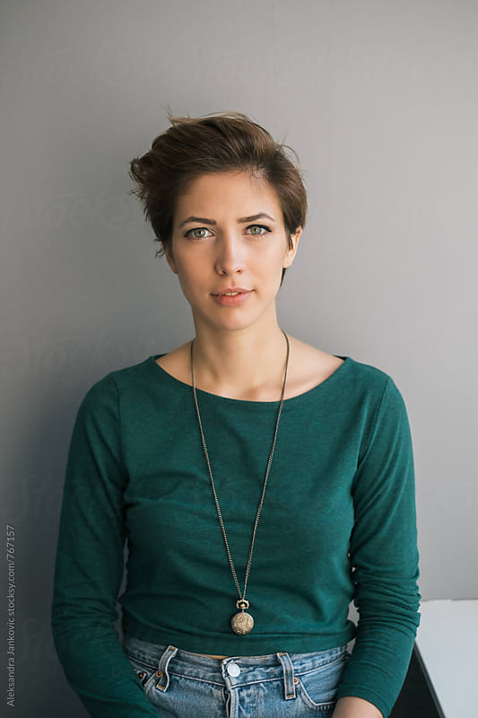 Portrait of a Beautiful Short-haired Brunette Woman by Aleksandra Jankovic for Stocksy United