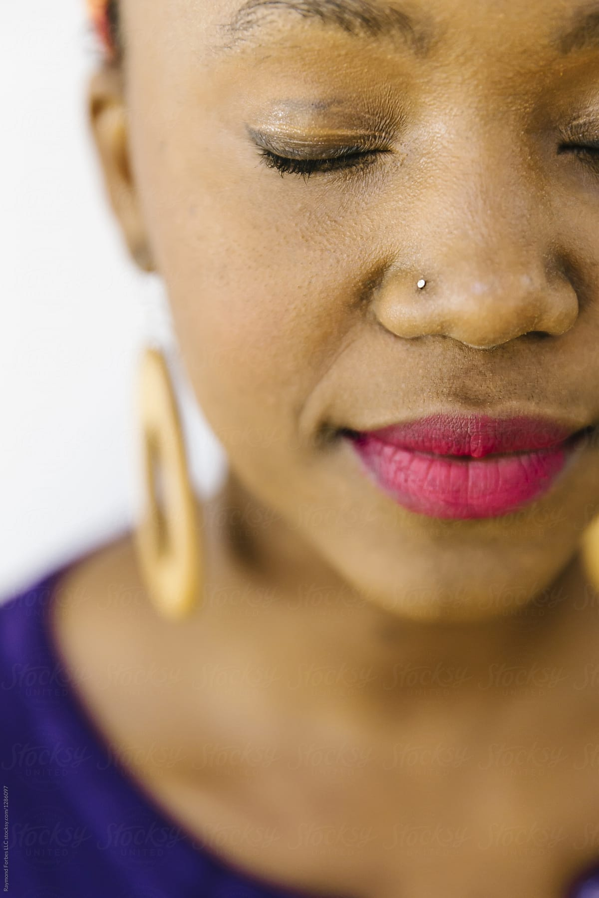 portrait of beautiful african american woman with nose