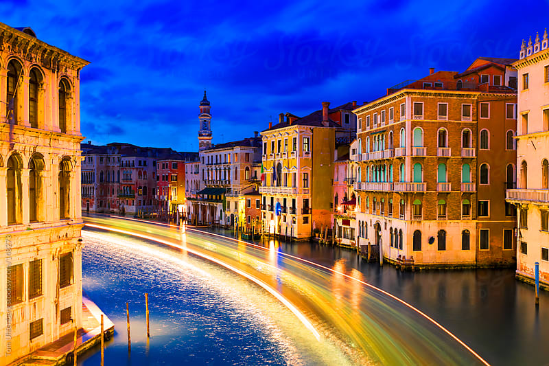 The Grand Canal in Venice, Italy at the Blue Hour by Tom Uhlenberg for Stocksy United