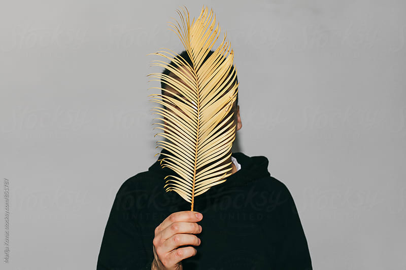 Man holding a palm leaf in front of his head  by Marija Kovac for Stocksy United