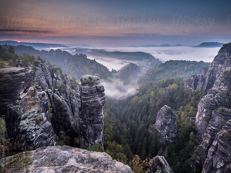 Sunrise over the Rocks of the Saxon Switzerland by Andreas Wonisch for Stocksy United
