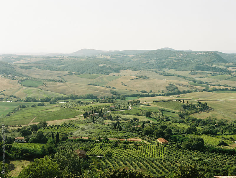 View of fields of Tuscany from Montepulciano by Kirstin Mckee for Stocksy United