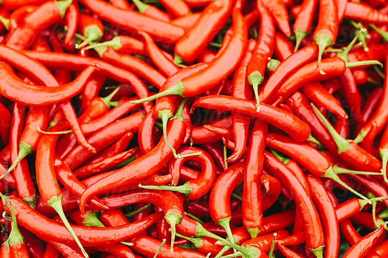 Fresh red hot chily peppers in the market. by Borislav Zhuykov for Stocksy United