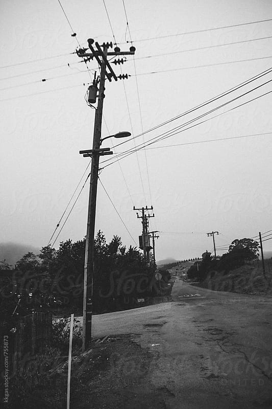 Utility wires and poles on a rural road by kkgas for Stocksy United
