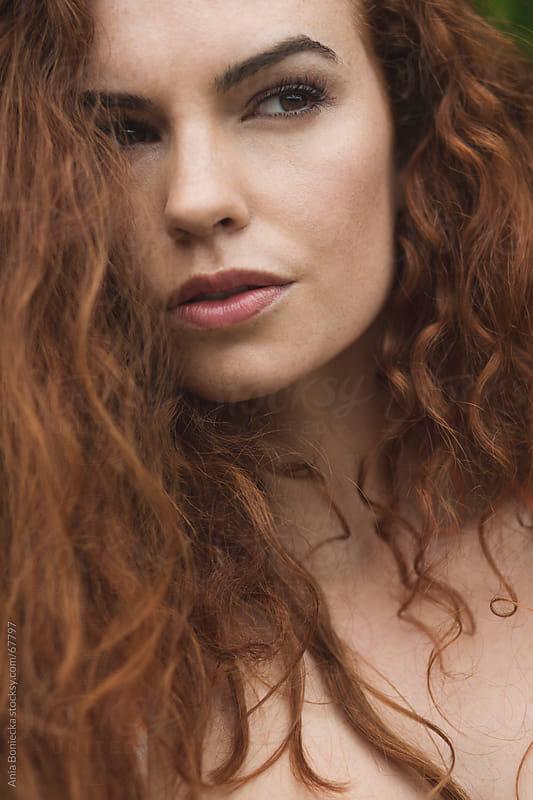 Closeup portrait of beautiful young redhead girl by Ania Boniecka for Stocksy United