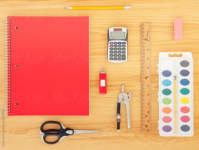 Supplies: Variety of School Supplies on Desk by Sean Locke for Stocksy United