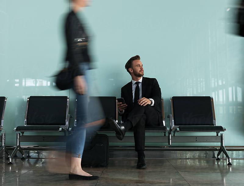 Dreaming entrepreneur in waiting area