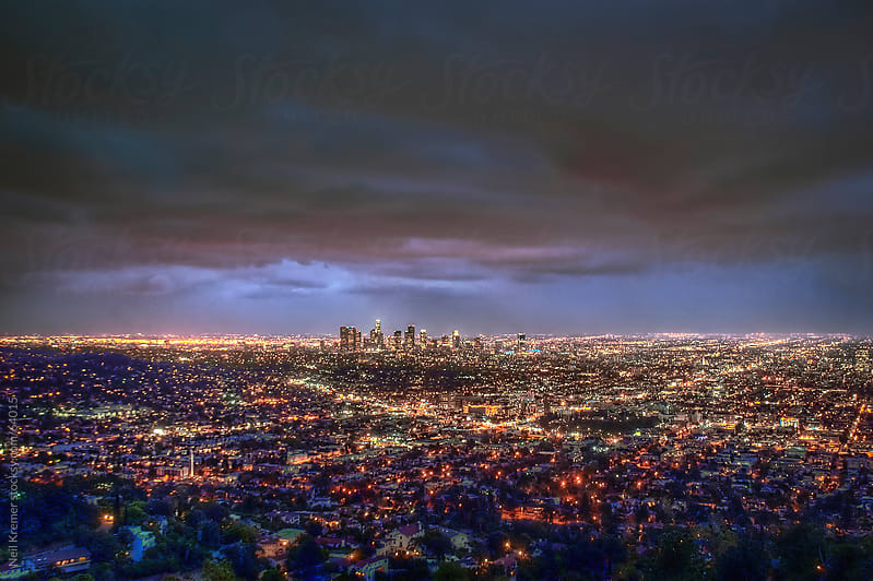 Los Angeles skyline at night by Neil Kremer for Stocksy United