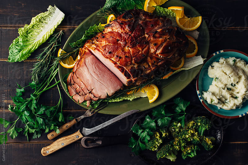 Traditional Easter Ham from above by Gabriel (Gabi) Bucataru for Stocksy United