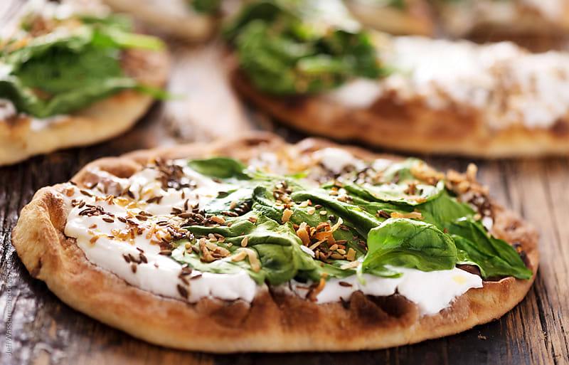 Spinach Yogurt Flatbread Naan Pizza  by Studio Six for Stocksy United