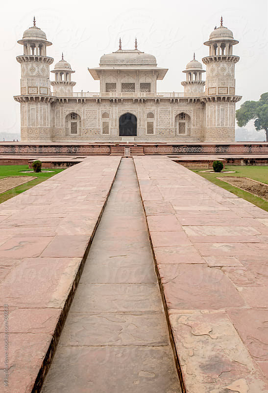 Low down shot of a temple in India. by Mike Marlowe for Stocksy United