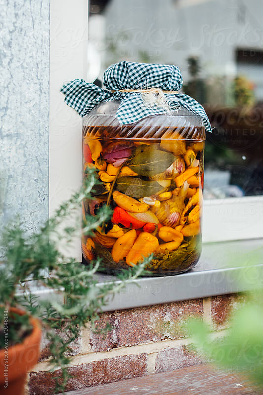 Large jar of Pickled Vegetables on Windowsill by Kara Riley for Stocksy United