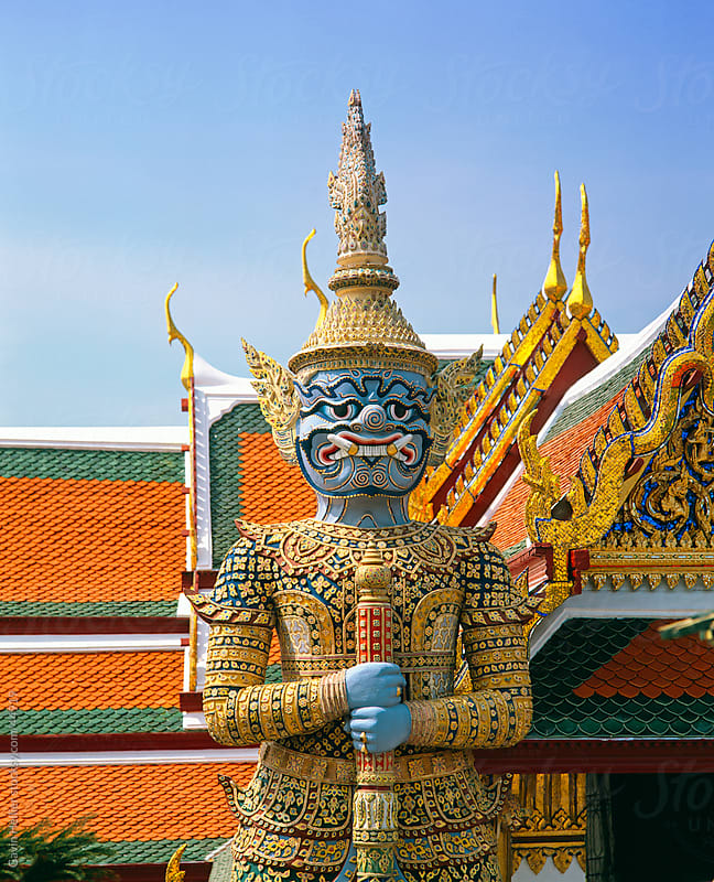 Statue in Wat Phra Kaeo, Grand Palace, Bangkok, Thailand, Southeast Asia, Asia by Gavin Hellier for Stocksy United