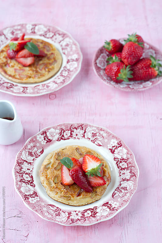 Rhubarb pancake with strawberry by Noemi Hauser for Stocksy United