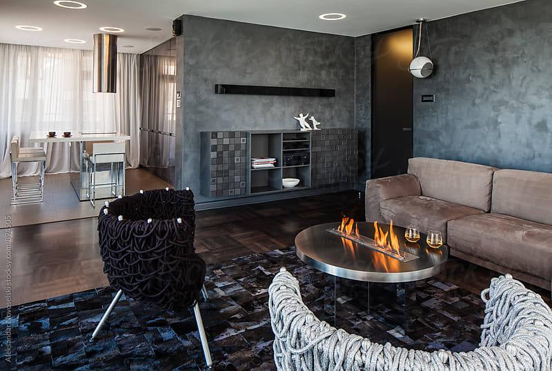 Living room in contemporary interior by Aleksandar Novoselski for Stocksy United