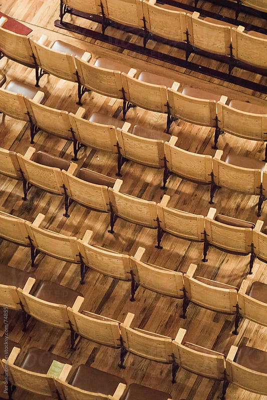 Beautiful wooden seats in vintage theater by Per Swantesson for Stocksy United