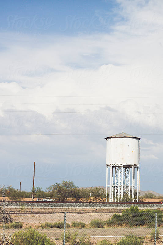Weathered water tank roadside   by Image Supply Co for Stocksy United